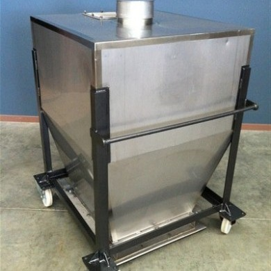 750lt stainless steel hopper with bottom sliding tray front view by Barry Brown & Sons in Victoria