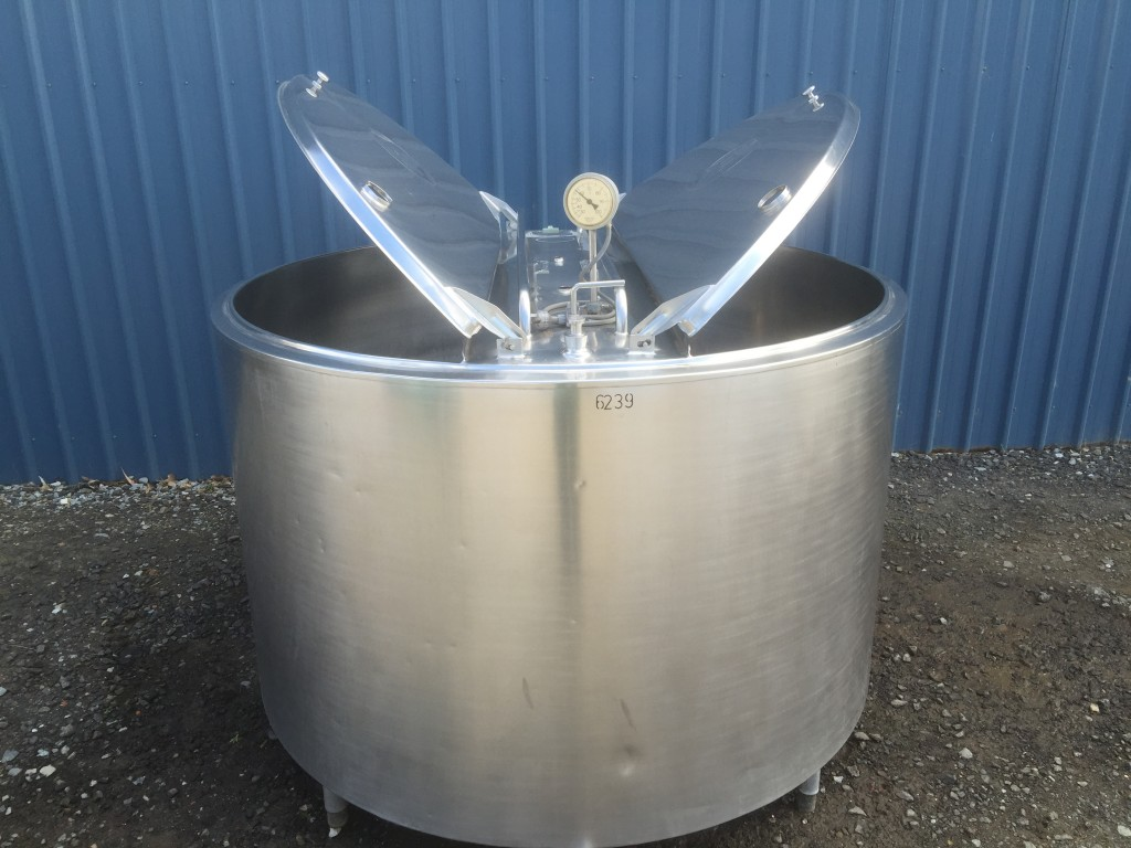 Stainless steel tank both lids open by Barry Brown & Sons in Victoria