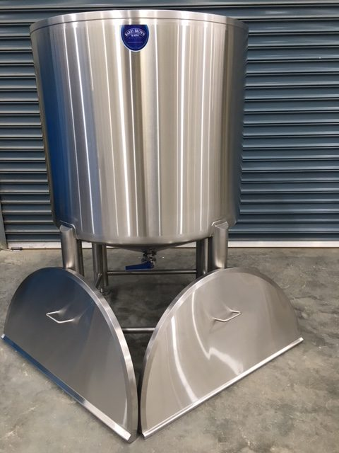 Stainless steel tank full view with both lids by Barry Brown & Sons in Victoria