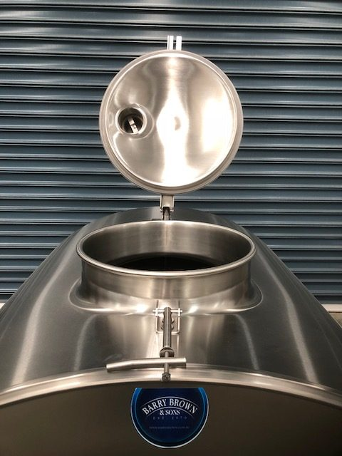 1,000lt Insulated Food Grade transportable Stainless Steel Tanker Lid Open by Barry Brown & Sons in Victoria