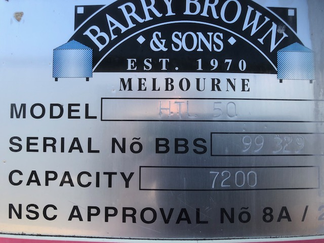 7,200lt Insulated & Jacketed Stainless Steel Tank Label by Barry Brown & Sons in Victoria