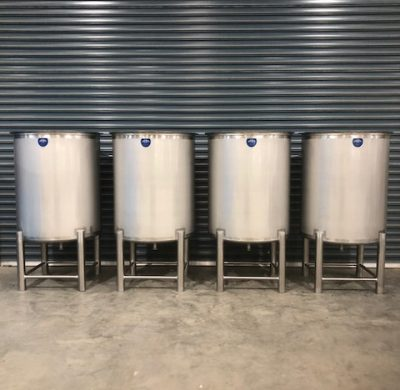 4 Units 1000lt Stainless Steel Open Top Tank with Stand - Barry Brown & Sons in Victoria