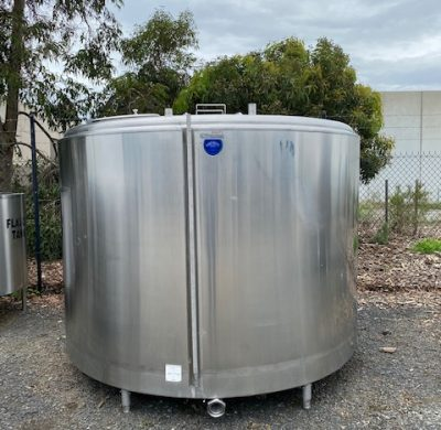 6,600lt Jacketed Stainless Steel Tank Outer View - Barry Brown & Sons in Victoria