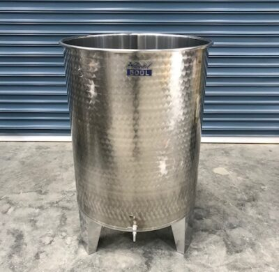 300 & 500lt stainless steel wine style tanks full view by barry brown & sons in victoria