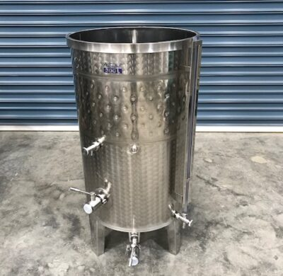 300lt jacketed stainless steel tank lid open by barry brown & sons in victoria