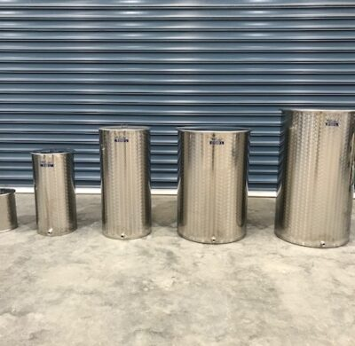 12-250lt stainless steel wine style drums by barry brown & sons in victoria