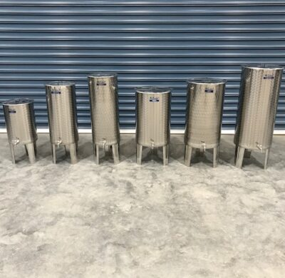 30-100 litre stainless steel wine style tanks side by side by barry brown & sons in victoria
